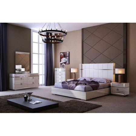 J&M Paris Modern Cream High Gloss Finish Leather Headboard King Bedroom Set -
