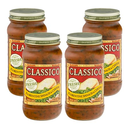 (4 Pack) Classico Florentine Spinach and Cheese Pasta Sauce, 24 oz (Spinach Pasta Recipes)