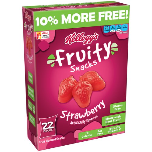 Kellogg's Strawberry Fruity Snacks, 22 count pouches