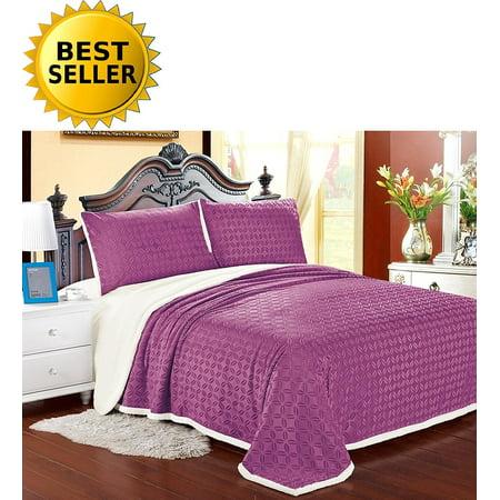 Elegant Comfort Luxury Sherpa Blanket On Amazon  Best Seller Micro Sherpa Ultra Plush Blanket   Full Queen  Pink