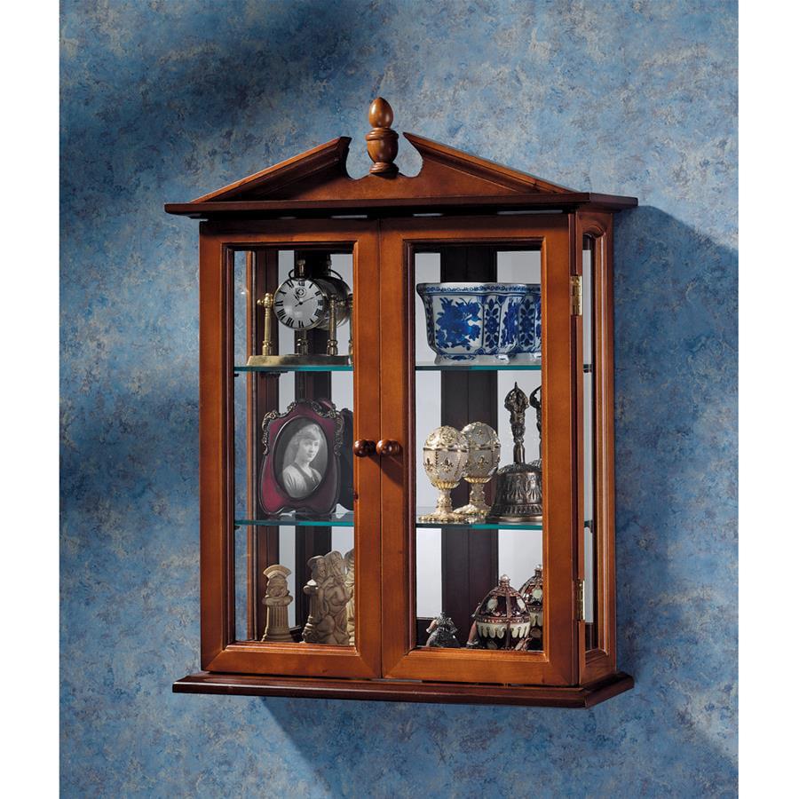 Amesbury Manor Hardwood Wall Curio Cabinet: Mahogany Finish by Design Toscano