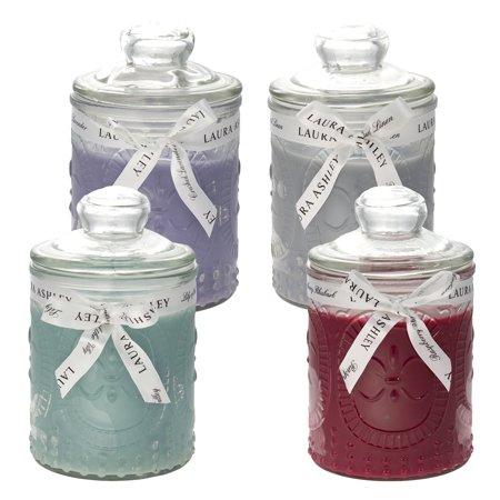 4 Laura Ashley Scented Candles Set 15.5oz Lily Raspberry Lavender Linen Bulk Lot
