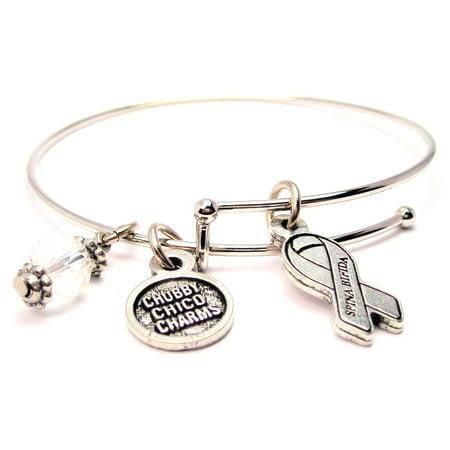 Awareness Ribbon Charm Bracelet (Spina Bifida Awareness Ribbon Bangle Bracelet, Fits 7.5
