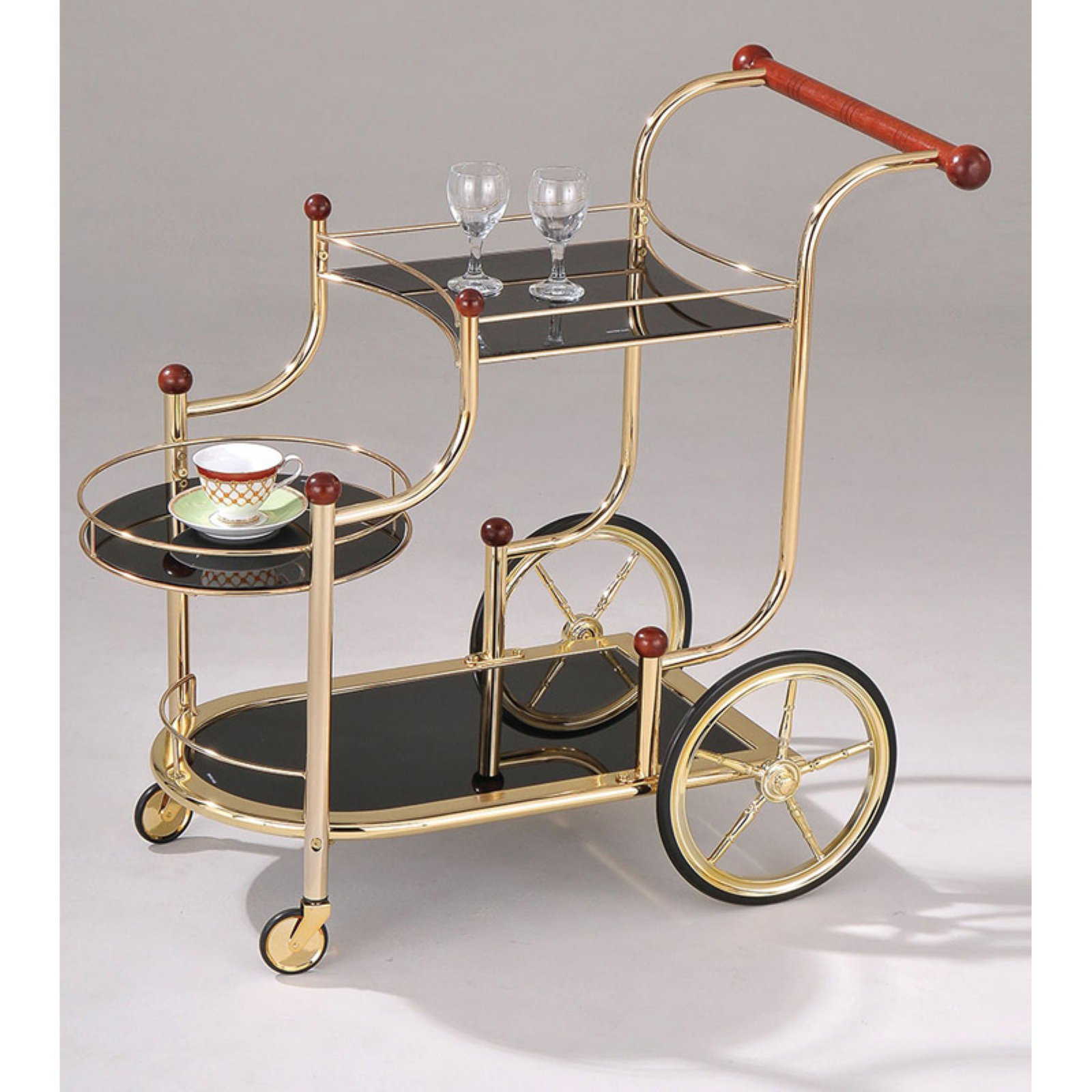ACME Lacy Serving Cart, Gold Plated by Acme Furniture