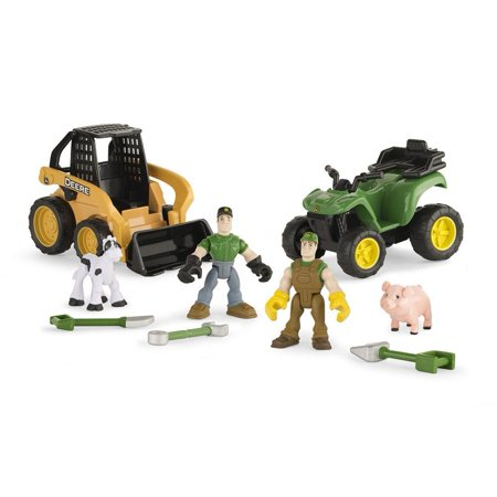 John Deere Gear Force Crawler Playset, Action activated front loader, opening cab roof for figure access and themed tools and accessories By -