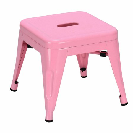 Gymax Set of 2 Stackable Stool Tolix Style Kids Children Lightweight Stool Metal Pink - image 3 de 7