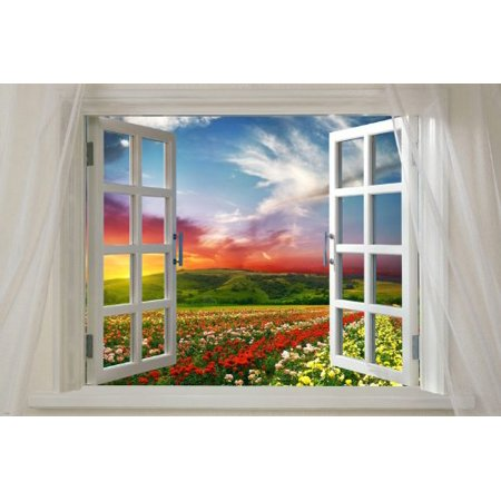 Window Onto Field Of Flowers Scenic Poster Vibrant Colors 24X36 Red Sky (Scenic Posters)