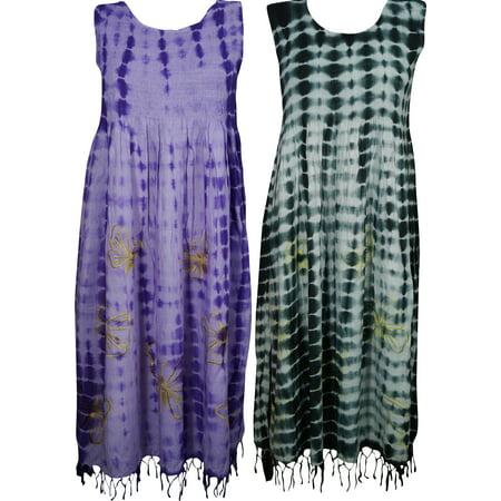 Mogul Electric Lady Tye Dye Comfy Long Dress Rayon Boho Chic Gypsy Hippie Summer Dresses Wholesale Set Of 2
