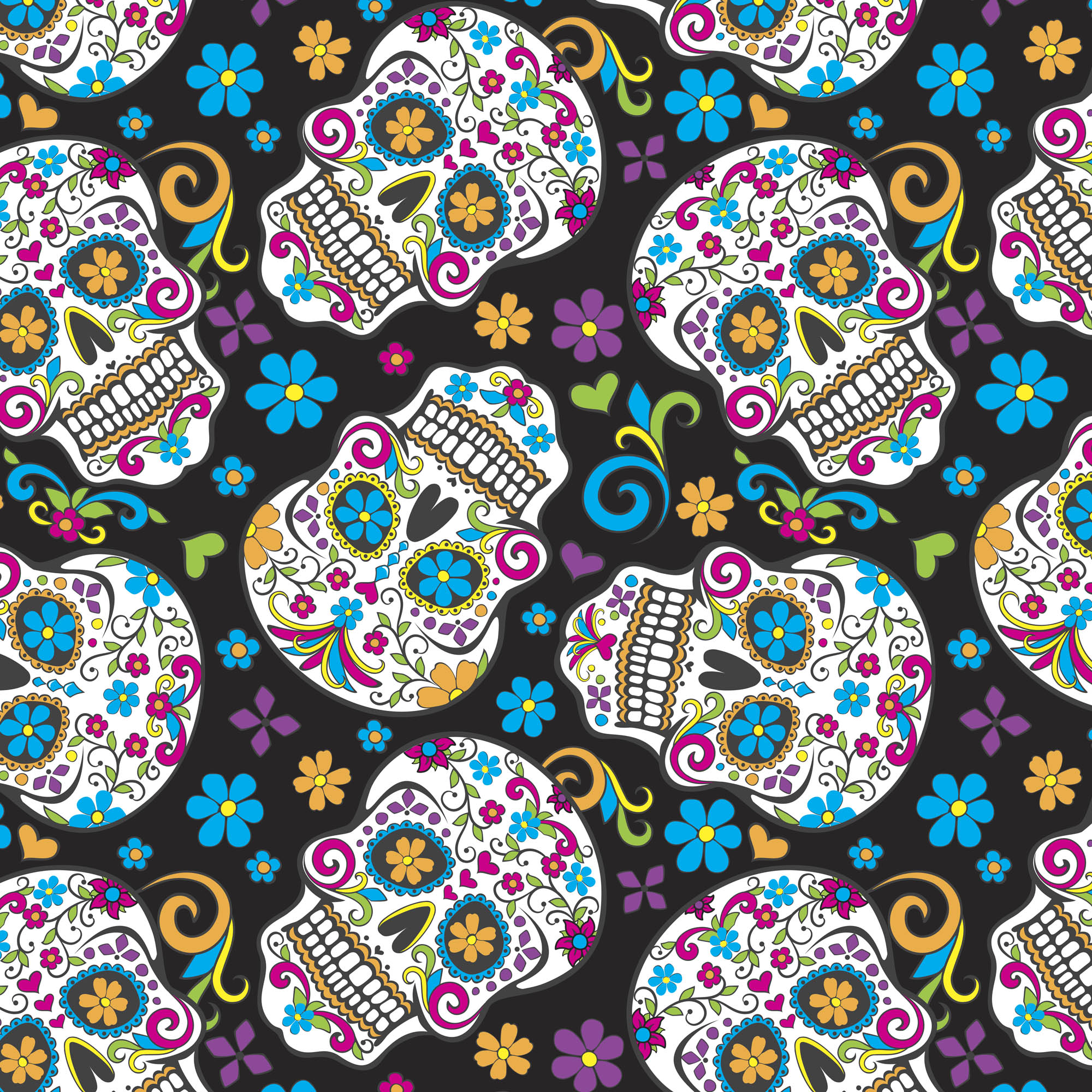 David Textiles Anti-Pill Fleece Folkloric Skulls On Black Fabric, per Yard