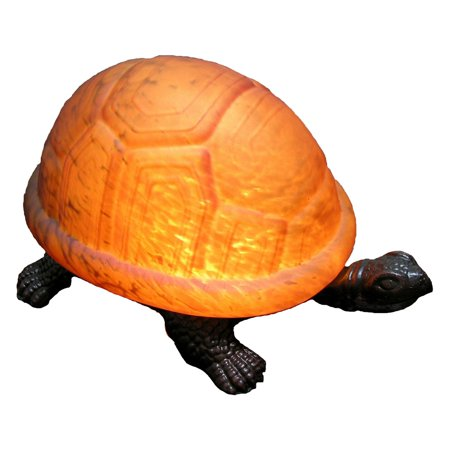 1-Light Turtle Art Glass Accent Lamp in Amber