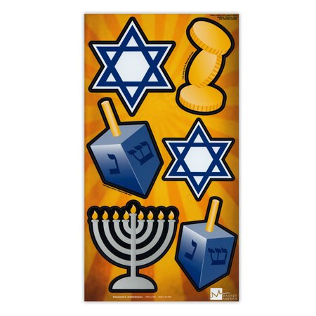 Plastic Dreidel - Magnet Variety Pack (6 Magnets) - Hanukkah (Menorah, Dreidel, Star of David) - Refrigerators, Cars, Mailboxes, Decoration - 2