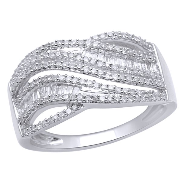 White Natural Diamond Multi Row Wave Ring In 10k White Gold