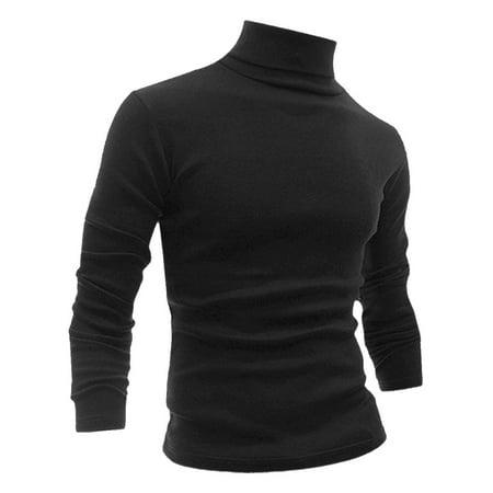Unique Bargains Men Slipover Turtle Neck Long Sleeves Slim Fit Shirt