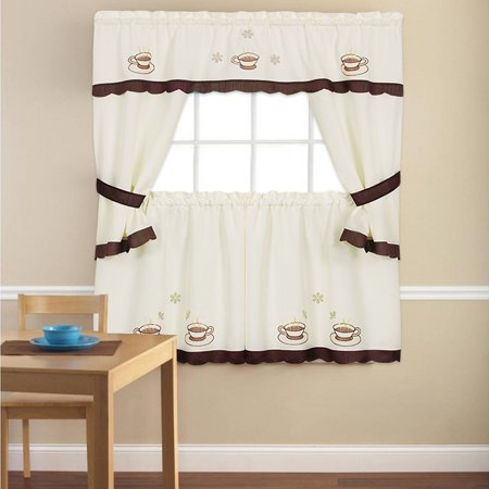 Embroidered Cottage - Embroidered Cuppa Joe 5 Piece Kitchen Curtain Cottage Set 24