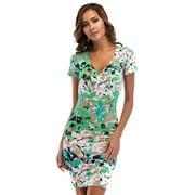 Women Floral Print V-Neck Short Sleeve High Waist Tight Elastic Sexy Bag Hip Dress