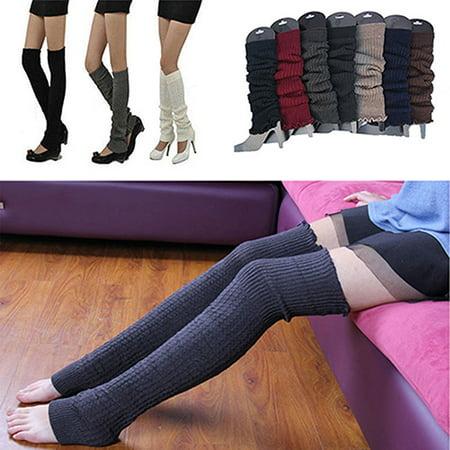 190313dfc21 HiCoup Women Winter Warm Knit Crochet High Knee Leg Warmers Leggings Boot  Socks Slouch - Walmart.com