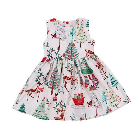 Mosunx Toddler Kids Baby Girls Sleeveless Cartoon Print Dress Christmas Dresse Clothes (Christmas Dress Up For Kids)