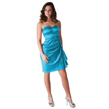 Faship Womens Elegant Side Pleated Formal Dress Light Blue - XXXL,Light