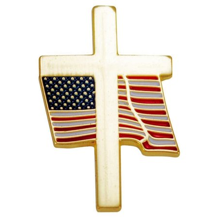 Cross & Waving USA Flag Pin Patriotic Gold, Set of 3 - Cross Pins