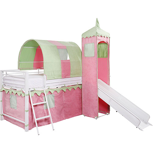 Girl's Castle Tent Loft Bed w/ Slide & Under Bed Storage, White