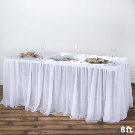 Efavormart Satin With 3 Layer Tulle Wholesale Wedding Banquet Event Rectangular Table Top for Kitchen Dining Catering Wedding ()