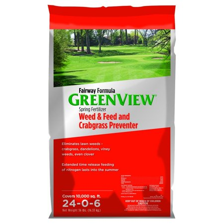 GreenView Fairway Formula Spring Fertilizer Weed & Feed and Crabgrass Preventer, 36 lb bag covers 10,000 sq