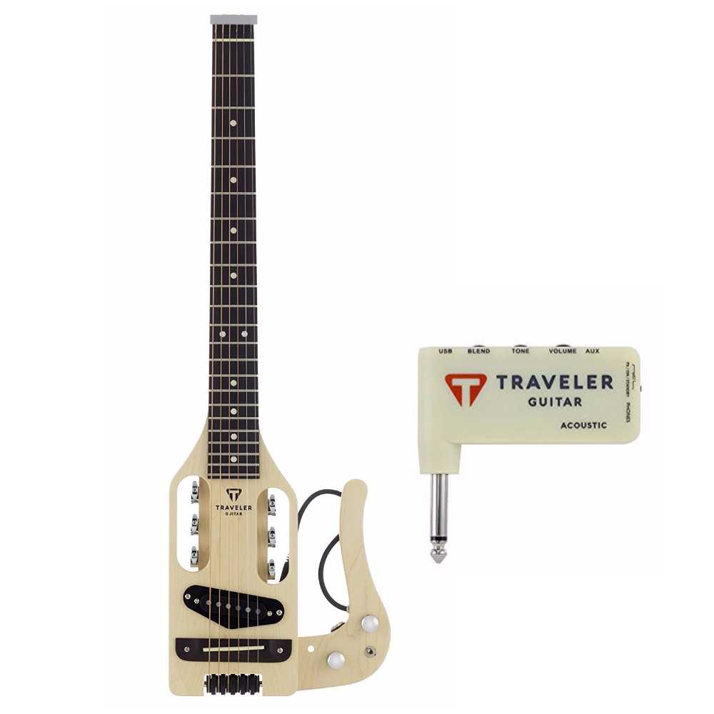 Traveler Guitar Pro-Series Acoustic-Electric Travel Guitar, and Mini Plug in AMP by Traveler Guitar