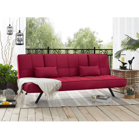 Serta Clara Dream Pool and Deck Outdoor Convertible Sofa with Fabric and Metal Frame, Crimson Red