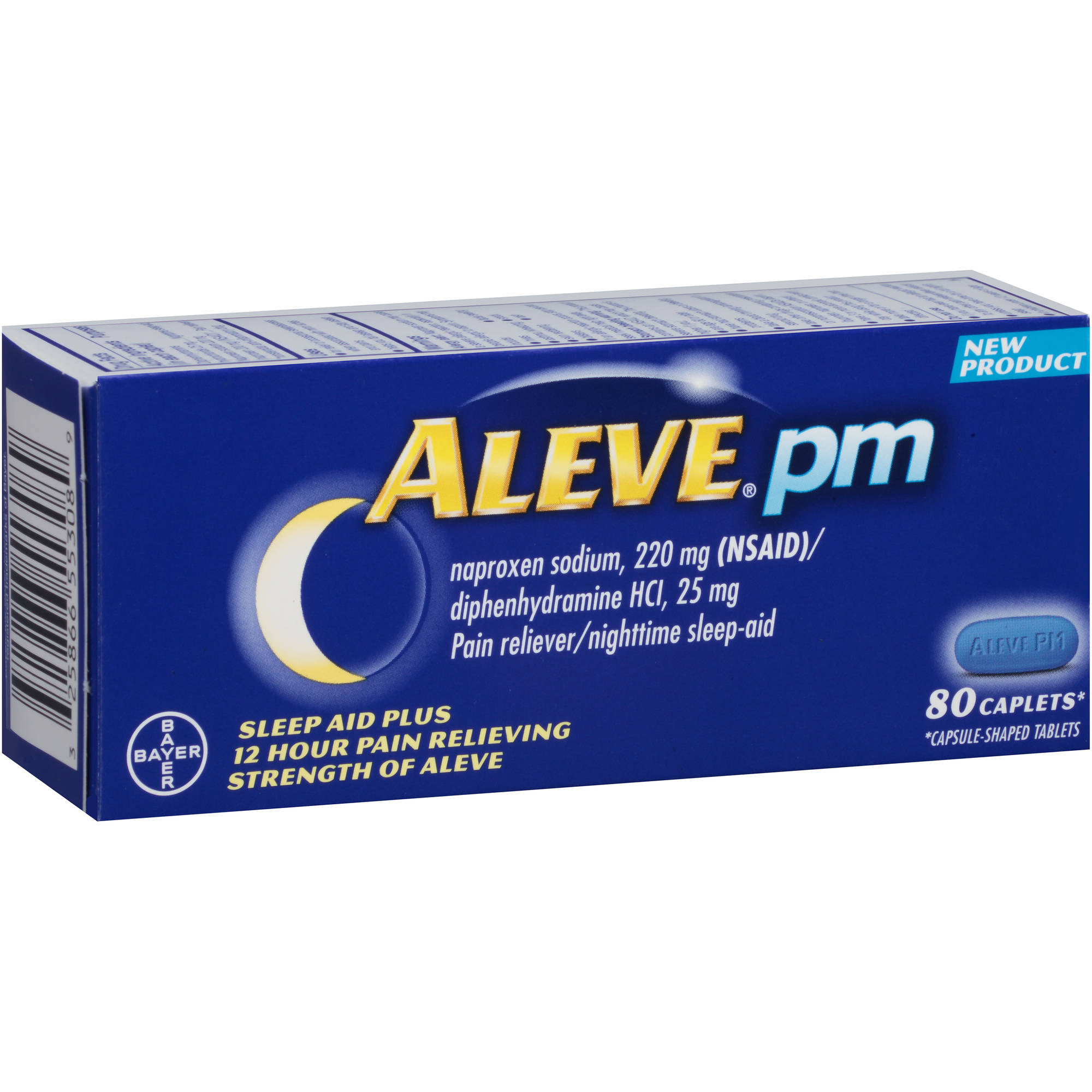 Aleve PM Pain Reliever/Nighttime Sleep-Aid Caplets, 80 count