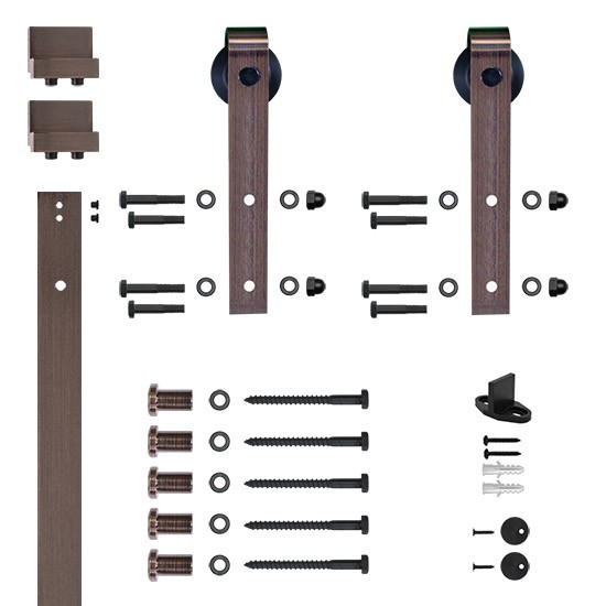 6.6 Ft. Hook Strap Oil Rubbed Bronze Rolling Barn Door Hardware Kit with 2-3/4 in. Wheel