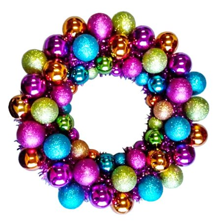 Winterland BAT-BWR-16-FU-PW Mardi Gras Ball Wreath With Battery Powered Pure White