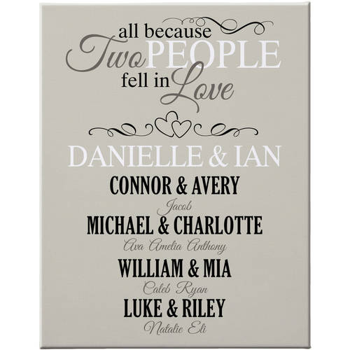Personalized All Because Two People Family Canvas, 11x14, Available in 4 Colors