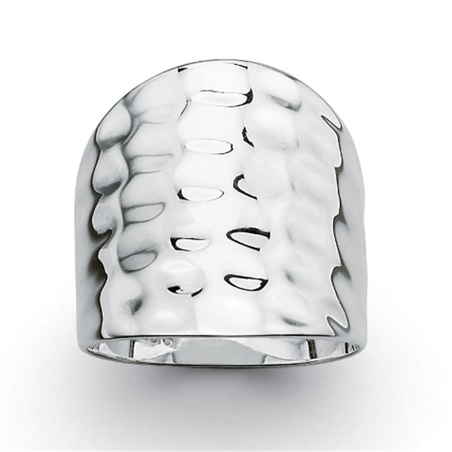 PalmBeach Jewelry 8320_7 Sterling Silver Hammered-Style Band Ring - Size 7