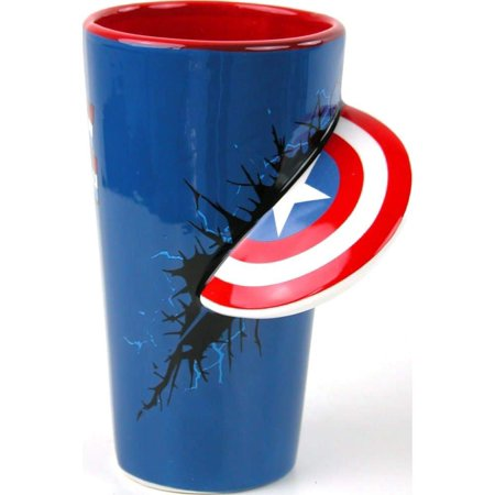 Pint Glass - Marvel - Captain America Shield Slam Molded Ceramic 16378 American Brilliant Cut Glass