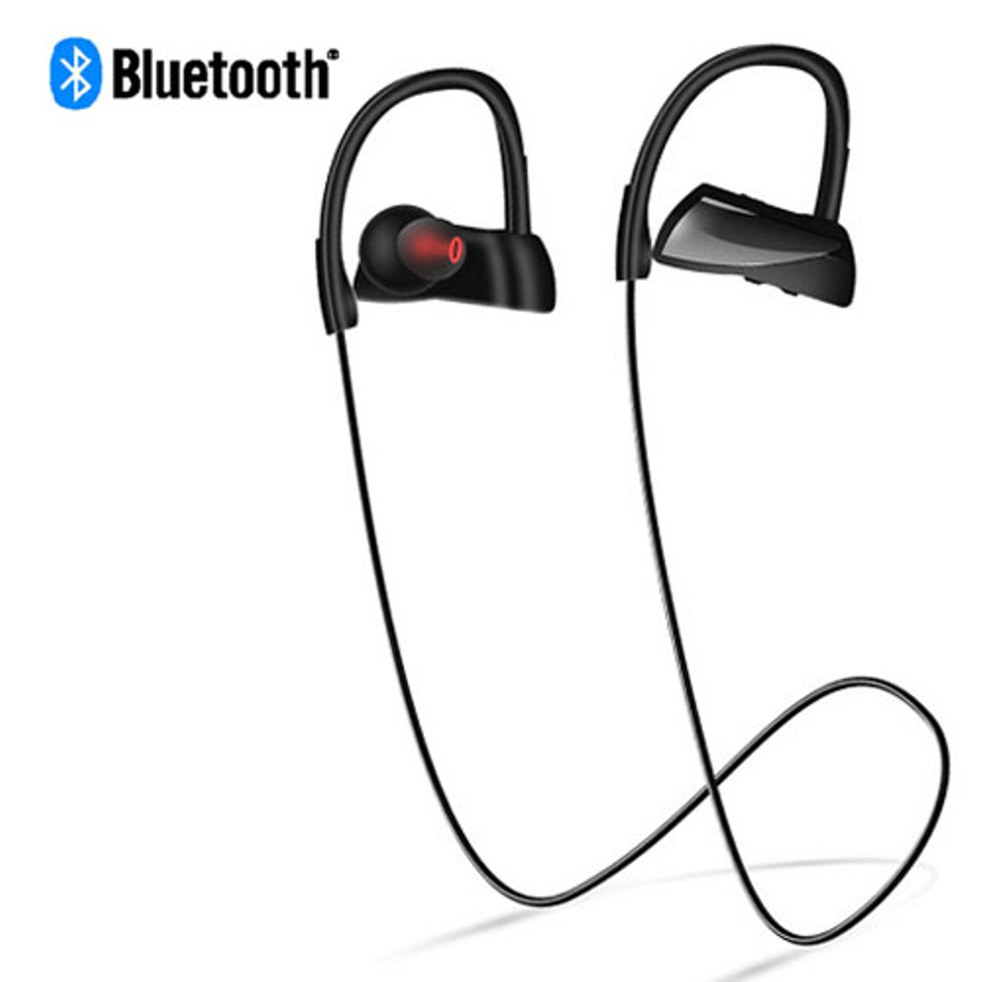 Insten Universal Rechargeable IPX7 Waterproof Wireless Bluetooth Headset Sports Stereo Handsfree Headphone for Apple iPhone X 7 8 Plus Cell phone - Black