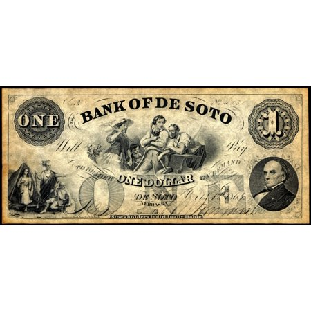 Union Banknote 1863 Nnebraska Territory Banknote For One Dollar Issued By The Bank Of De Soto 1863 Daniel Webster Is Pictured At The Bottom Right Corner Rolled Canvas Art     24 X 36