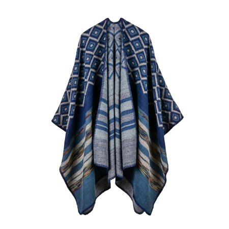 - Winter Women Loose Outerwear Coat Oversized Knitted Cashmere Poncho Cape Shawl Cardigan Sweater