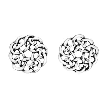 Continuity Celtic Knot Donut  925 Sterling Silver Stud Earrings