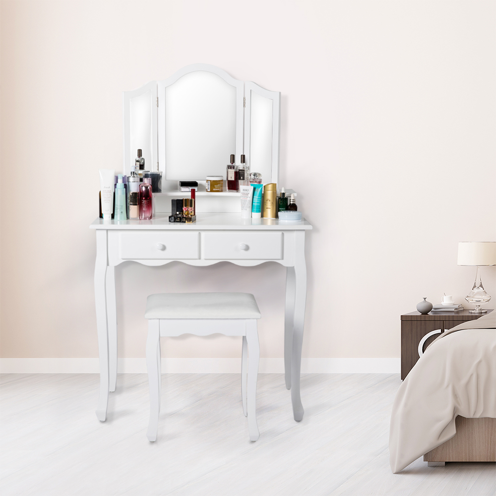 Kinbor 3 Piece Wood Vanity Dressing Table Set With Stool& 2 Drawers White