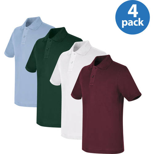 REAL SCHOOL Unisex Short Sleeve Pique Polo Shirt School Uniform Approved 4-Pack Value Bundle