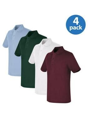 REAL SCHOOL Unisex Short Sleeve Pique Polo Shirt School Uniform Approved 4-Pack Value Bundle
