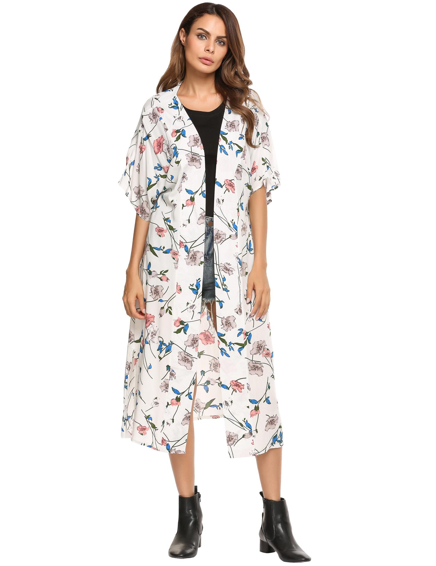 b407abf46 Women Short Sleeve Floral Front Open Cardigan Long Loose Kimono Style  Cover-up HFON