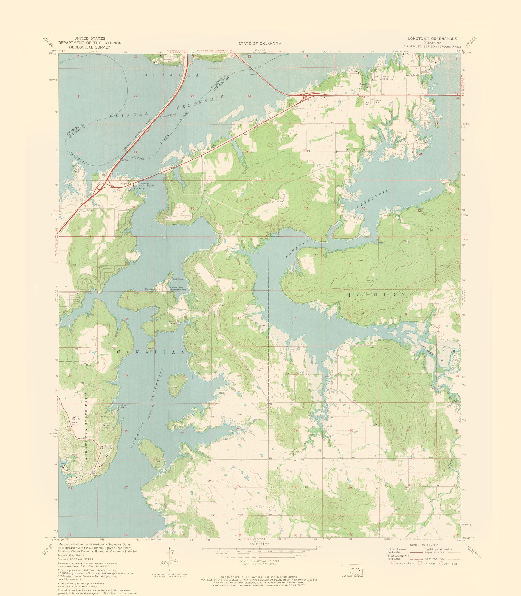 Topographic Map - Longtown Oklahoma Quad - USGS 1971 - 23 x 26.31 ...