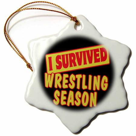 - 3dRose I Survived Wrestling Season Sports Fans Survial Pride And Humor Design, Snowflake Ornament, Porcelain, 3-inch