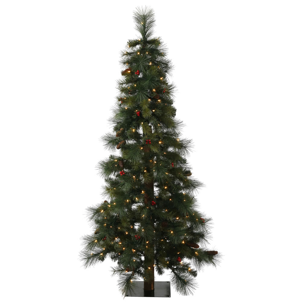 4' Pre-Lit Mixed Pine Medium Alpine Artificial Christmas Tree - Clear Lights