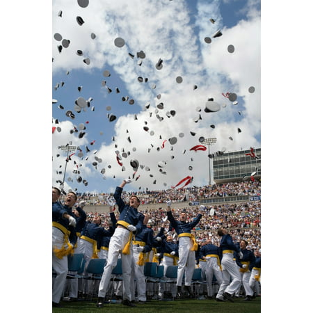 May 31 2006 - Newly commissioned second lieutenants toss their hats skyward at the conclusion of the US Air Force Academys 2006 graduation ceremony in Colorado Springs Colorado Poster Print