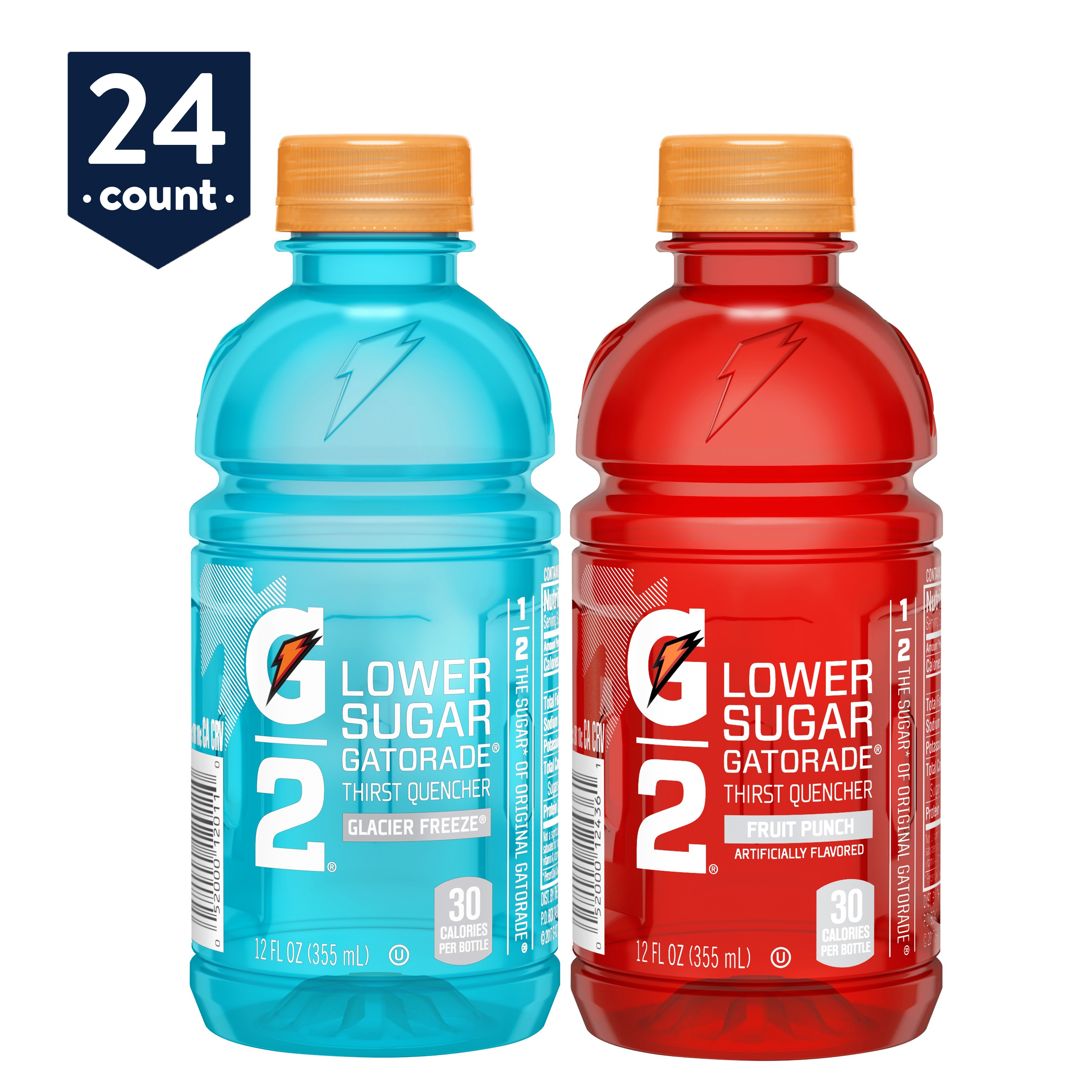 Gatorade G2 Thirst Quencher Low Calorie Sports Drink, 2 Flavor Variety Pack, 12 oz Bottles, 24 Count