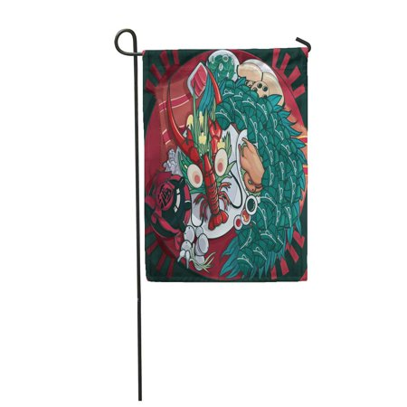Red Dragon Boat - LADDKE Red Dumpling Dragon Boat Festival Food Cartoon Ancient Antique Garden Flag Decorative Flag House Banner 12x18 inch