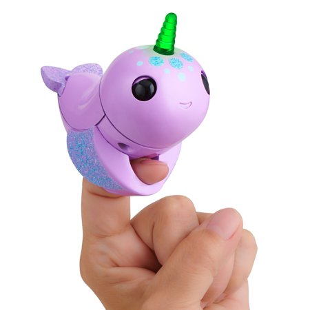 Fingerlings Light Up Narwhal - Nelly (Purple) - Friendly Interactive Toy by WowWee