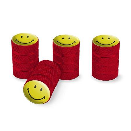 Smiley Smile Happy Yellow Face Tire Rim Wheel Aluminum Valve Stem Caps - Red